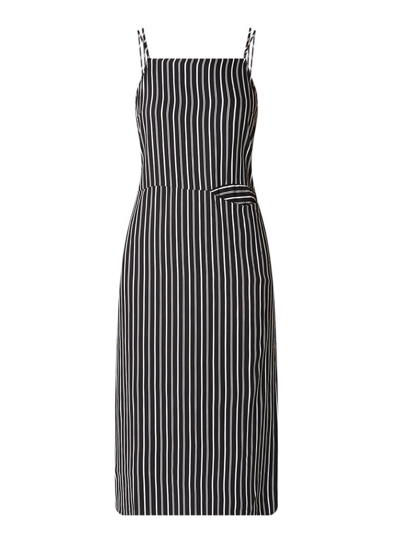 Warehouse Maxi-jurk met streepdessin en steekzak zwart