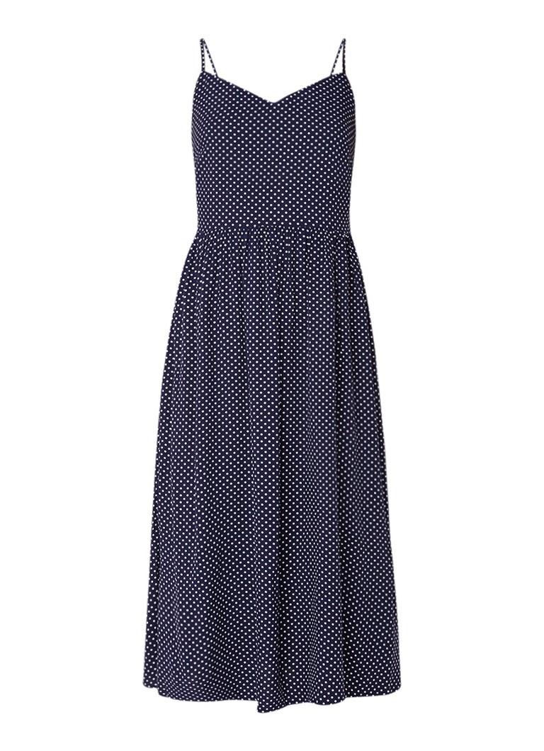 Warehouse Midi-jurk met polkadotdessin donkerblauw