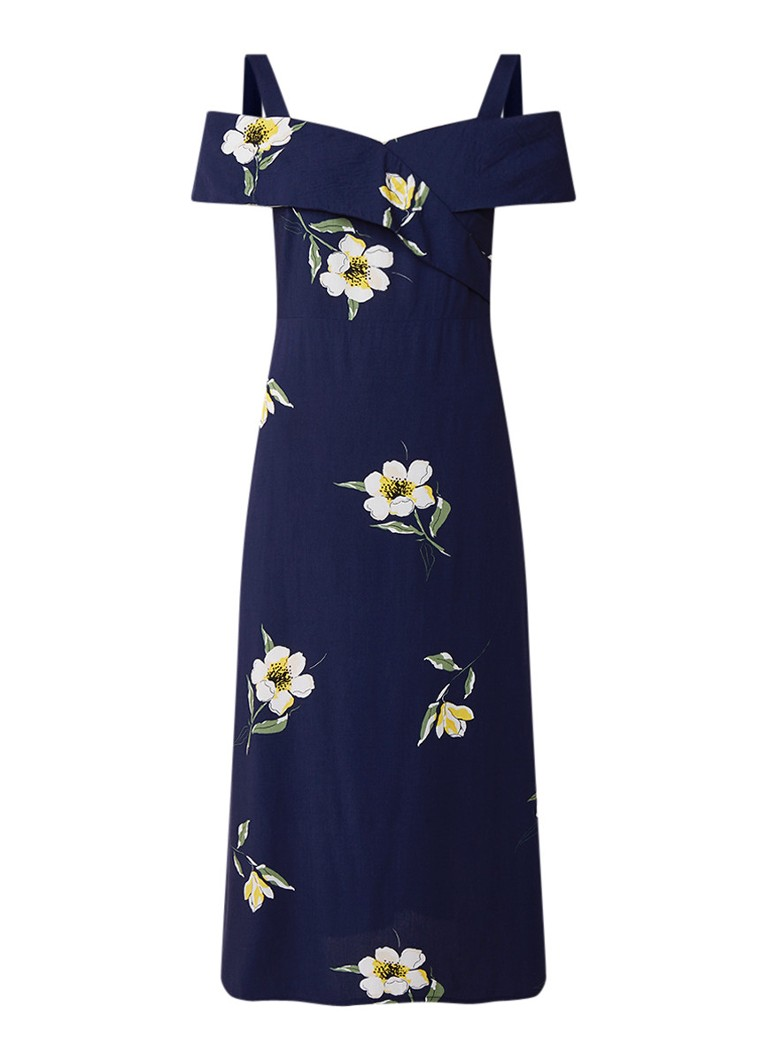 Warehouse Buttercup gebloemde midi-jurk met cold shoulder middenblauw