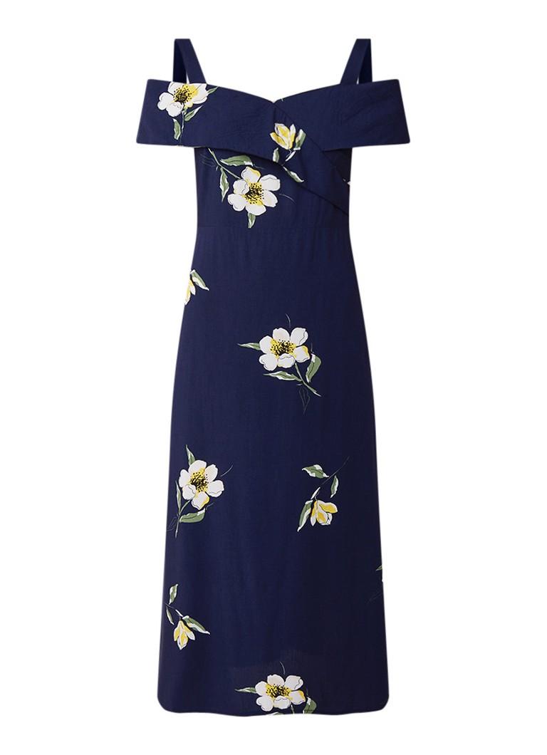 Warehouse Buttercup gebloemde midi-jurk met cold shoulder