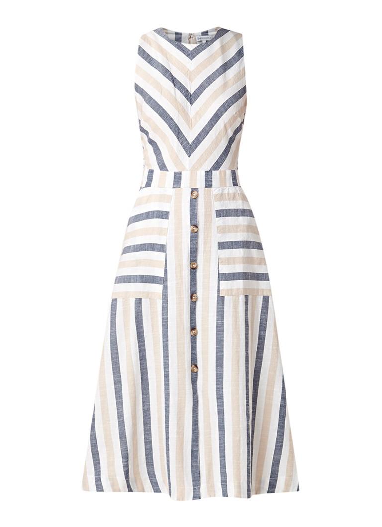 Warehouse A-lijn jurk met streepdessin en split gebroken wit