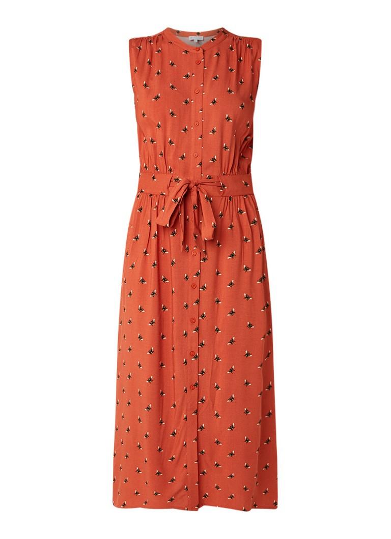 Warehouse Midi blousejurk met bijendessin en ceintuur oranjebruin