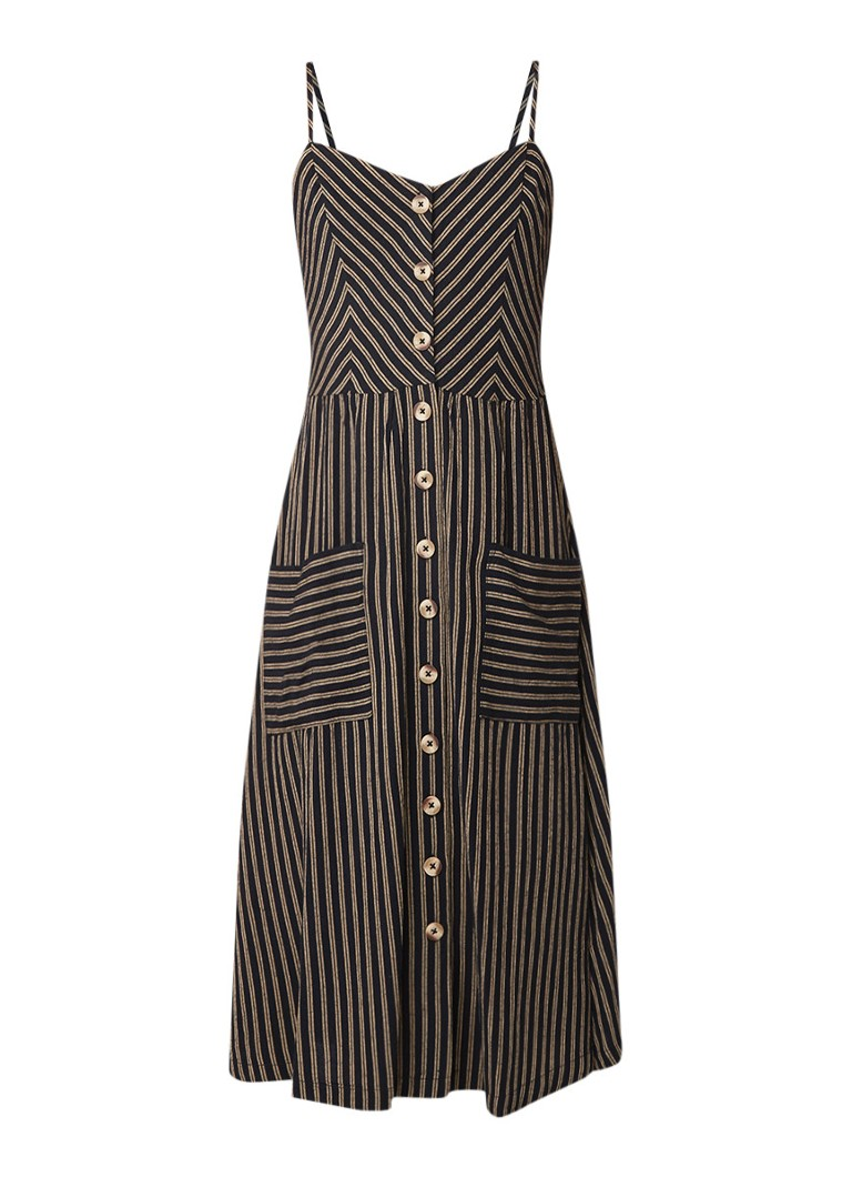 Warehouse Cami jurk in linnenblend met streepdessin multicolor