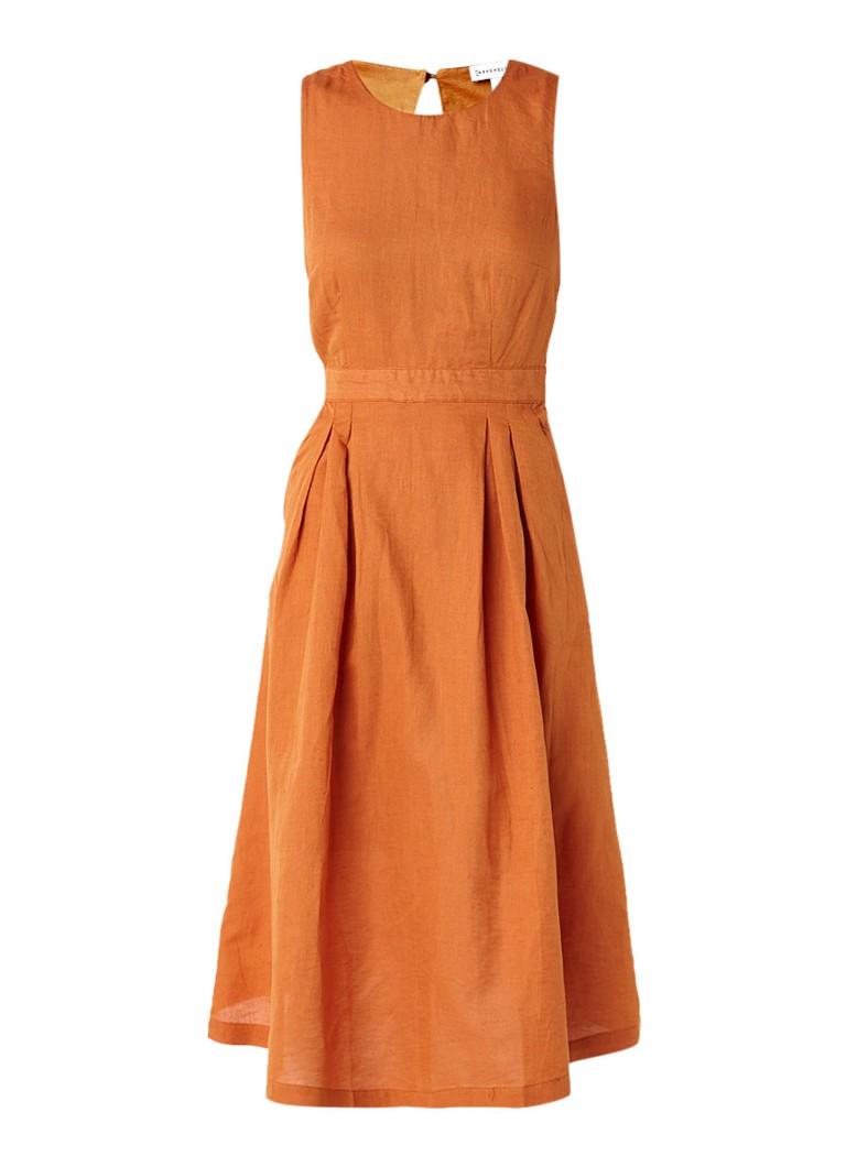 Warehouse A-lijn jurk in linnenblend met keyhole oranje