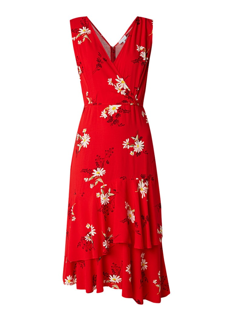 Warehouse Daisy midi-jurk met bloemendessin en strikceintuur rood