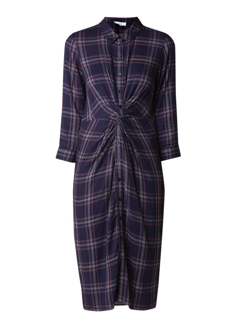 Warehouse Midi blousejurk met ruitdessin en knoopdetail donkerblauw