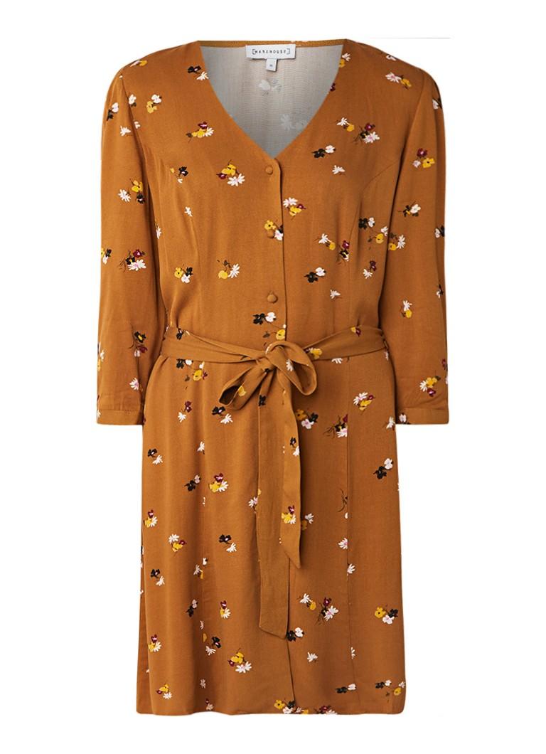 Warehouse Bea blousejurk met bloemendessin en strikceintuur camel