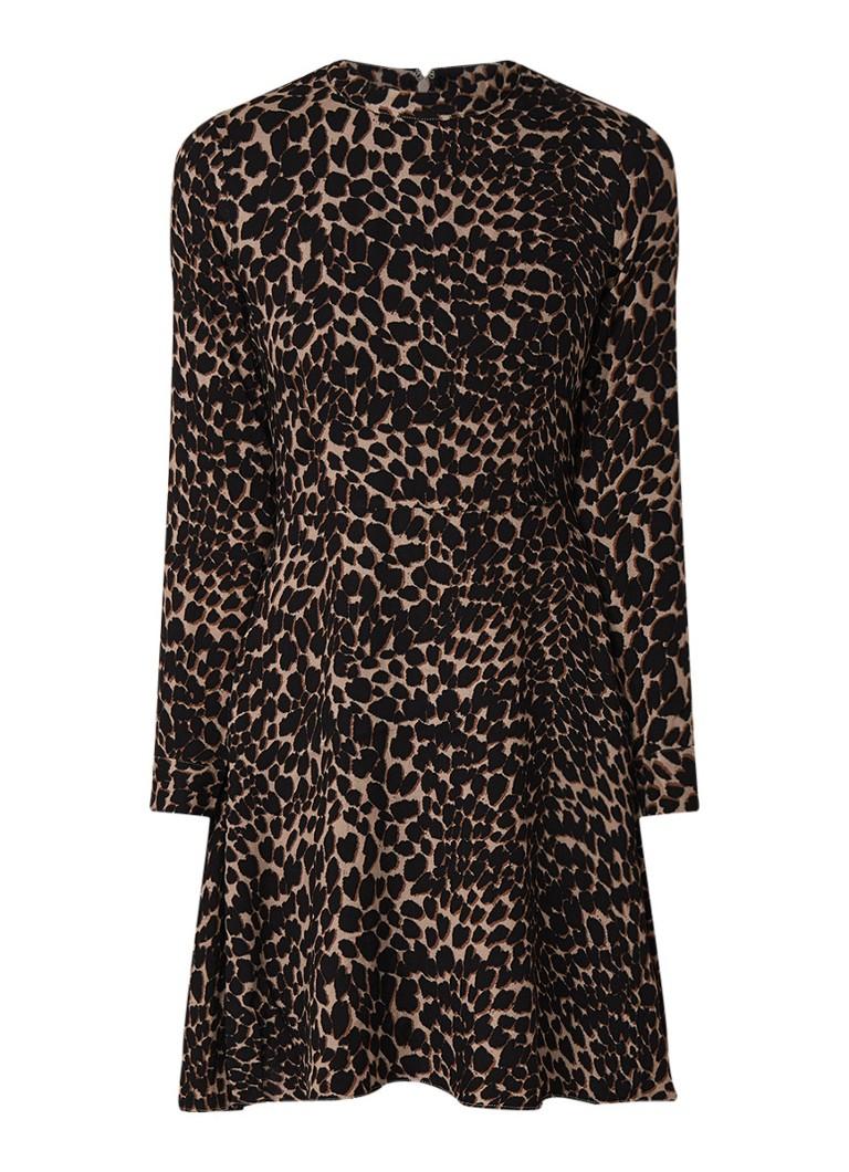 Warehouse Mini A-lijn blousejurk met luipaarddessin bruin