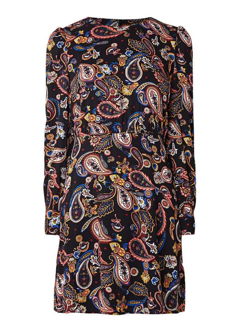 Warehouse A-lijn mini-jurk met paisleydessin zwart