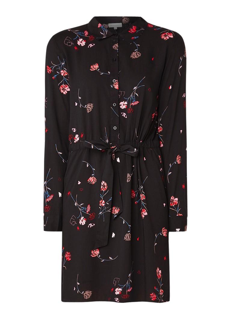 Warehouse Dree blousejurk met bloemendessin zwart