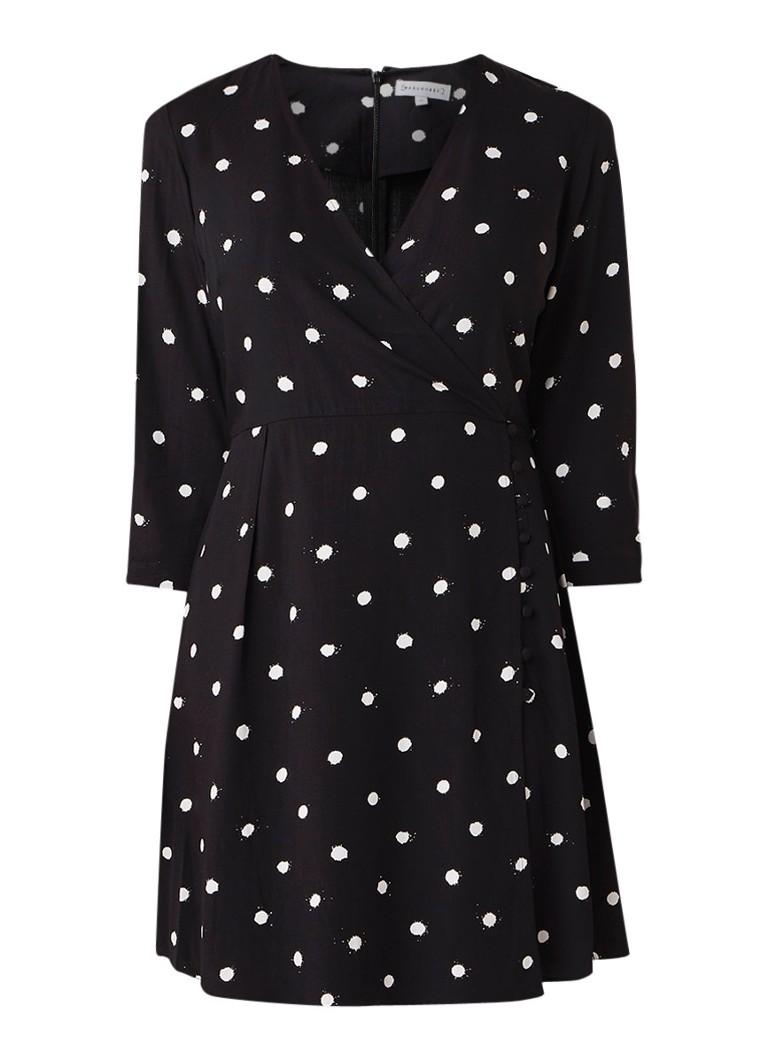 Warehouse Gestipte mini-jurk met V-hals zwart