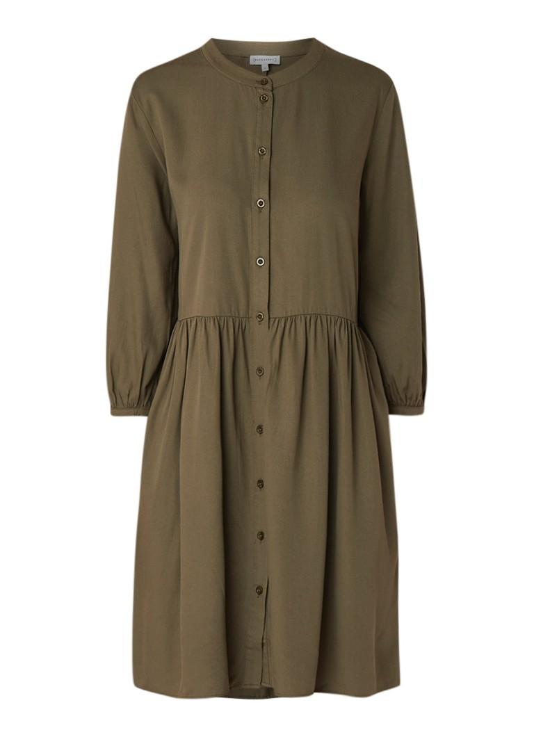 Warehouse Loose fit blousejurk met driekwart mouw khaki