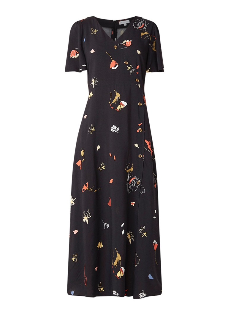 Warehouse Loose fit midi-jurk met bloemendessin zwart