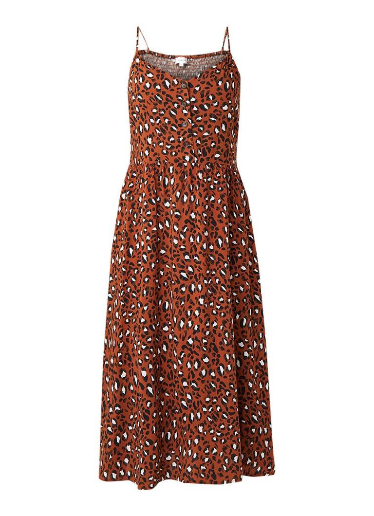 Warehouse Cami jurk met luipaarddessin roestbruin