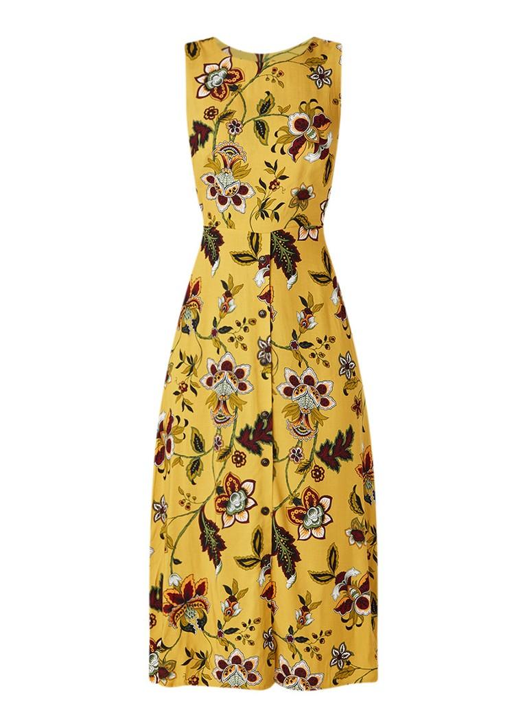 Warehouse Mouwloze maxi-jurk met paisleydessin mosterd
