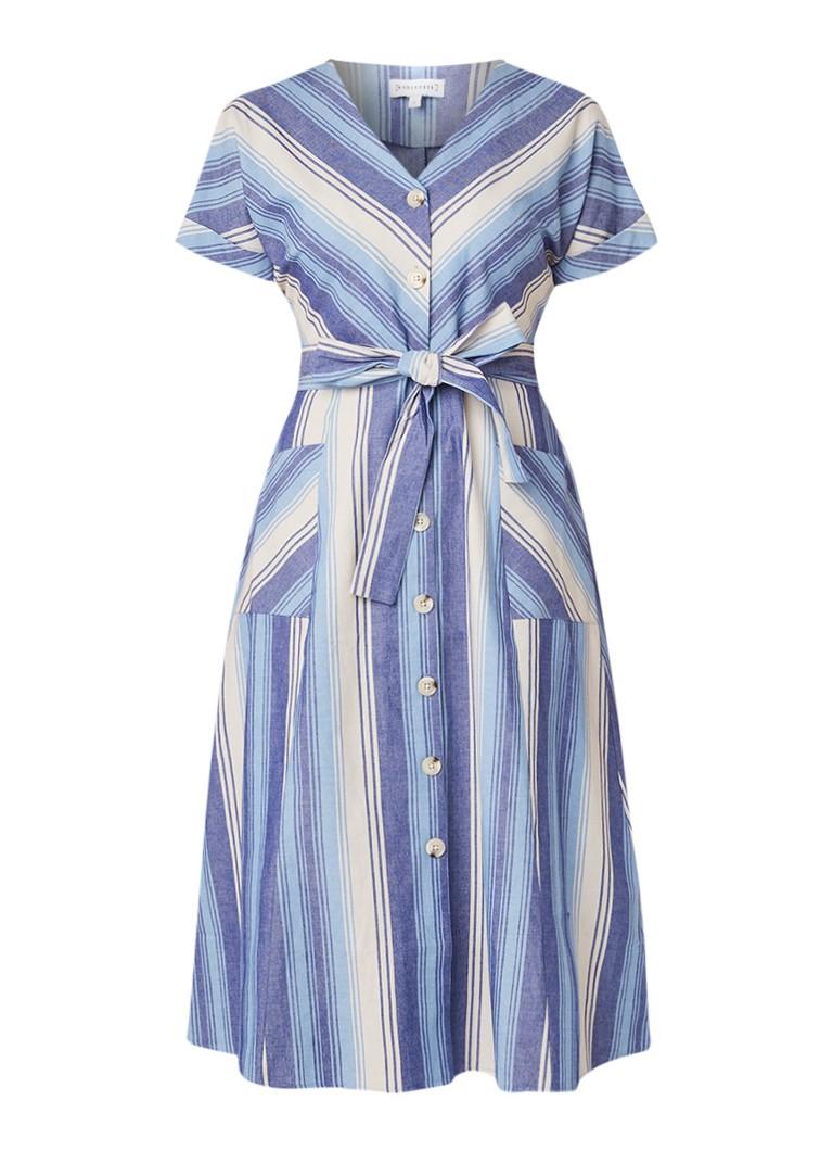 Warehouse Chevron blousejurk met streepdessin middenblauw