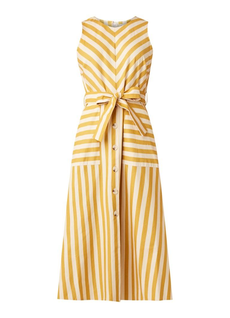 Warehouse Midi-jurk met streepdessin en strikceintuur okergeel