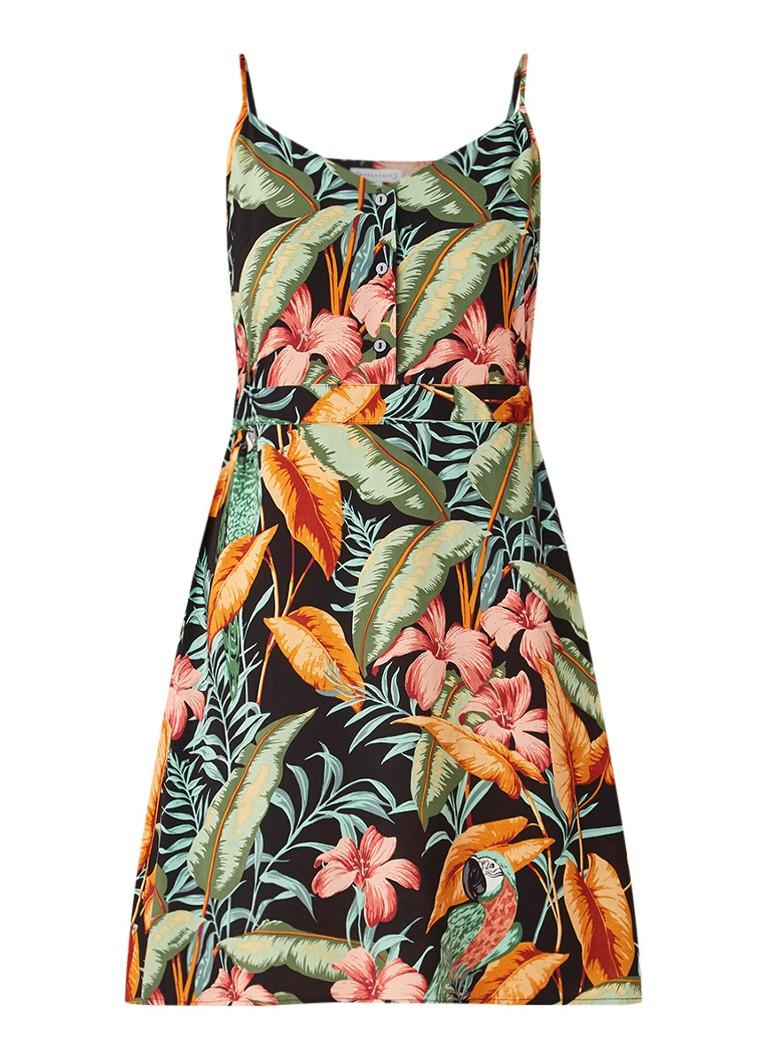 Warehouse Cami jurk met dessin en halve knoopsluiting zwart