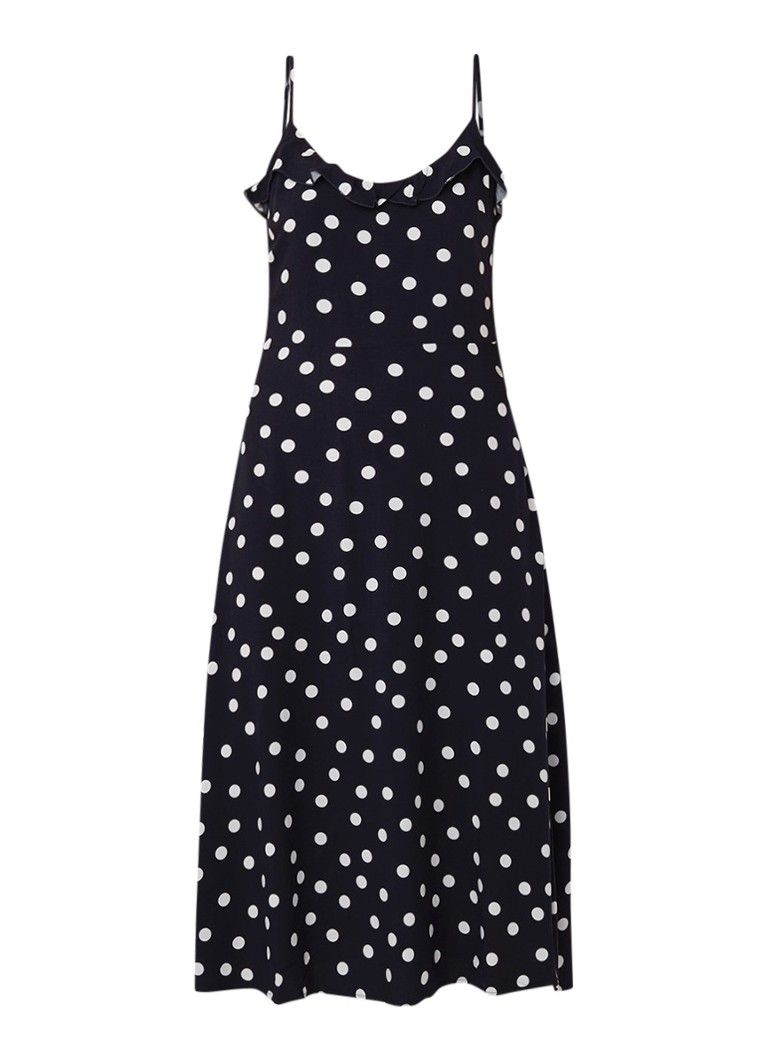 Warehouse Midi-jurk met ruches en stippendessin donkerblauw