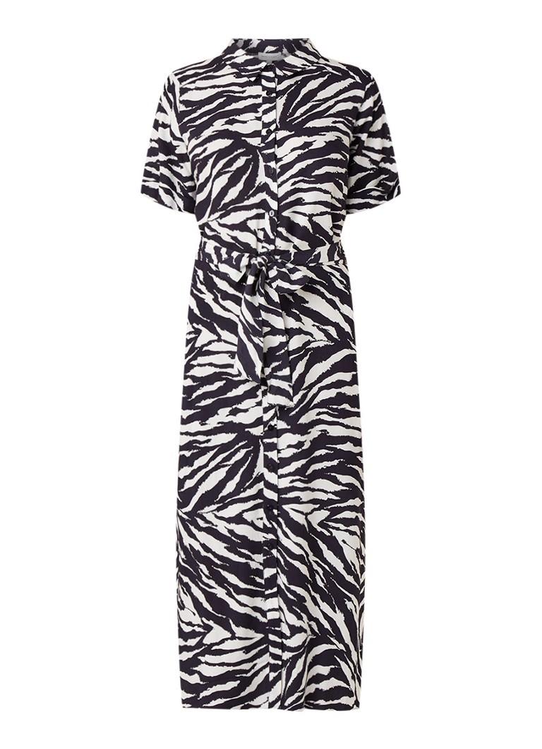 Warehouse Blousejurk met zebradessin en strikceintuur donkerblauw