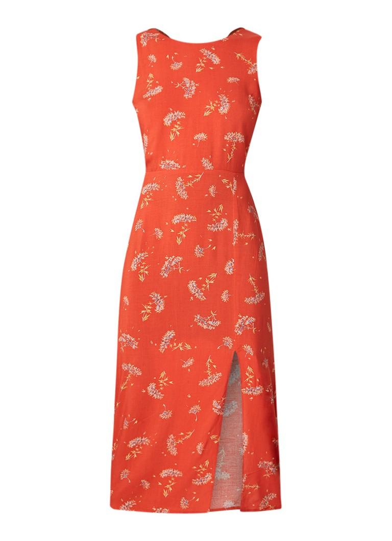 Warehouse Mouwloze midi-jurk met bloemendessin koraal