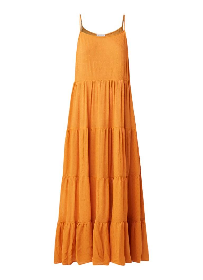 Warehouse Maxi-jurk met ingeweven dessin oranje