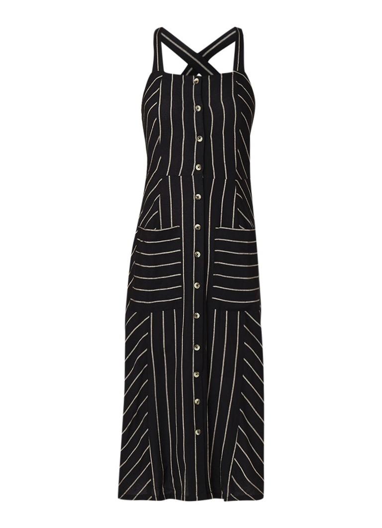 Warehouse Midi-jurk van linnen met streepdessin beige