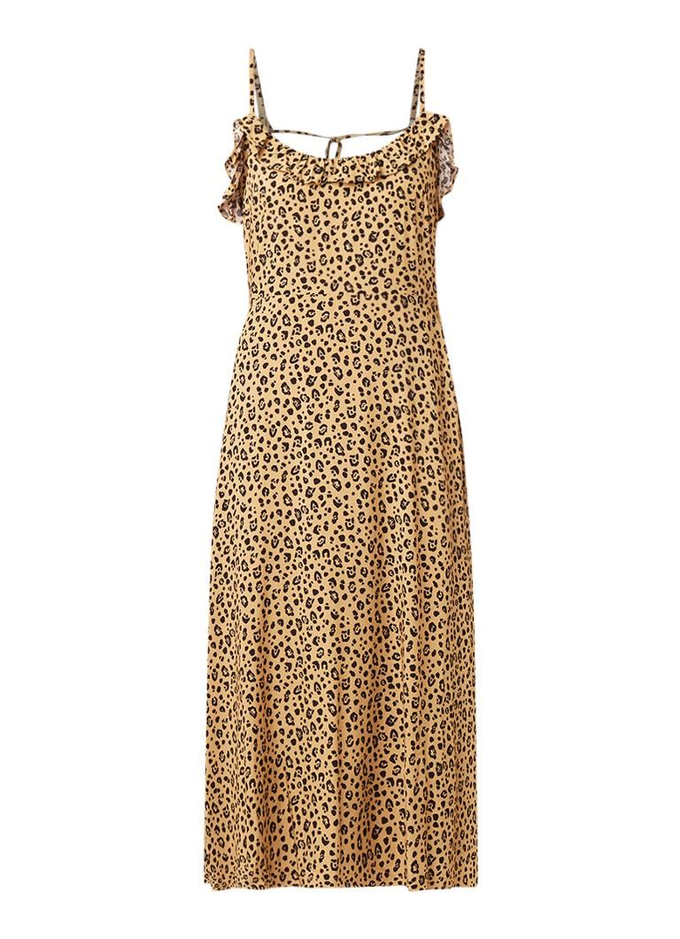 Warehouse Midi-jurk met luipaarddessin beige
