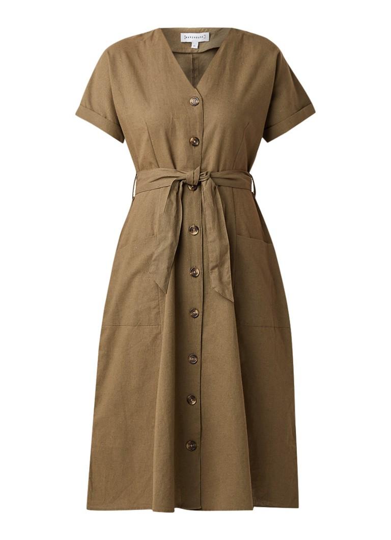 Warehouse Midi-jurk in linnenblend met knoopsluiting khaki