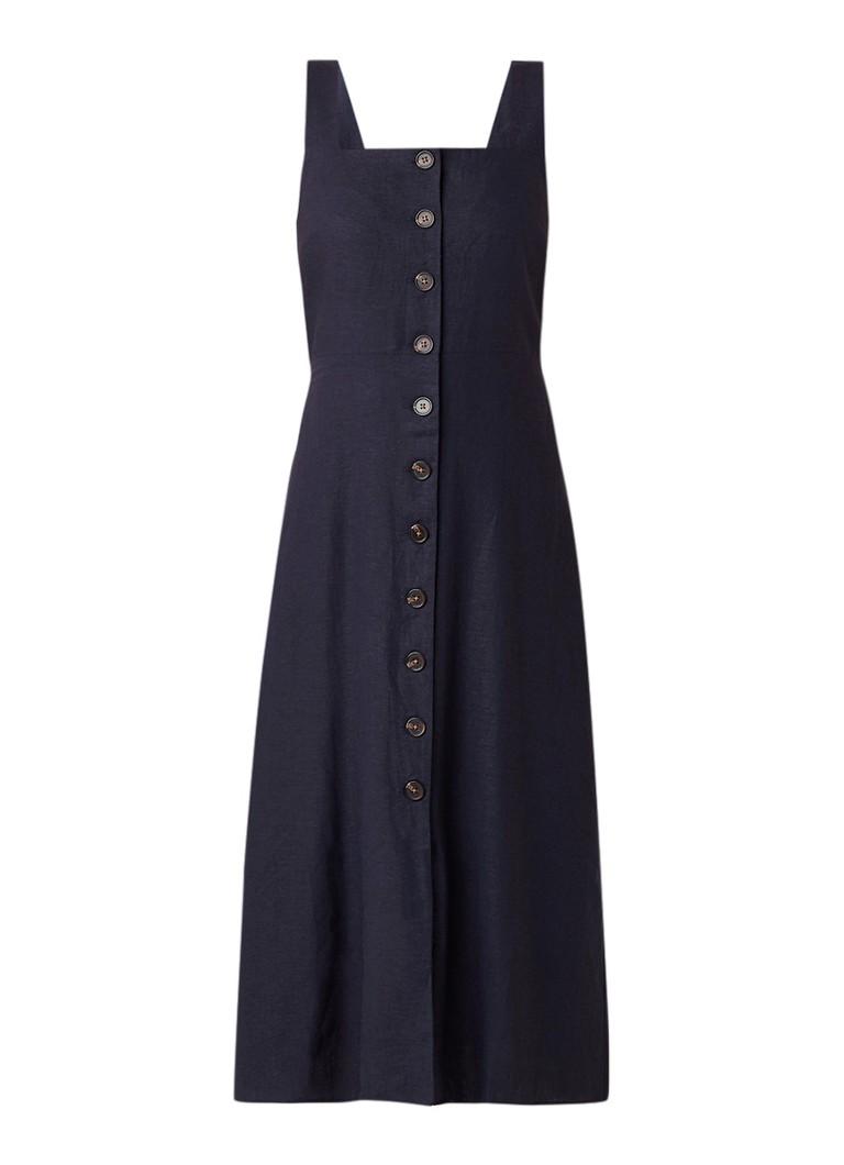 Warehouse Midi-jurk van linnen met knoopsluiting donkerblauw