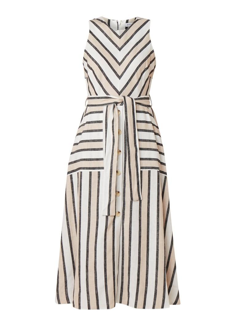 Warehouse Midi-jurk met streepdessin en strikceintuur beige
