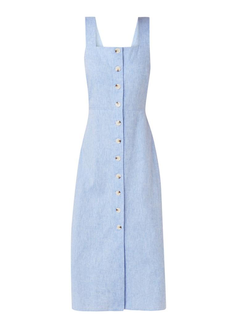 Warehouse Midi-jurk van chambray met strikdetail lichtblauw