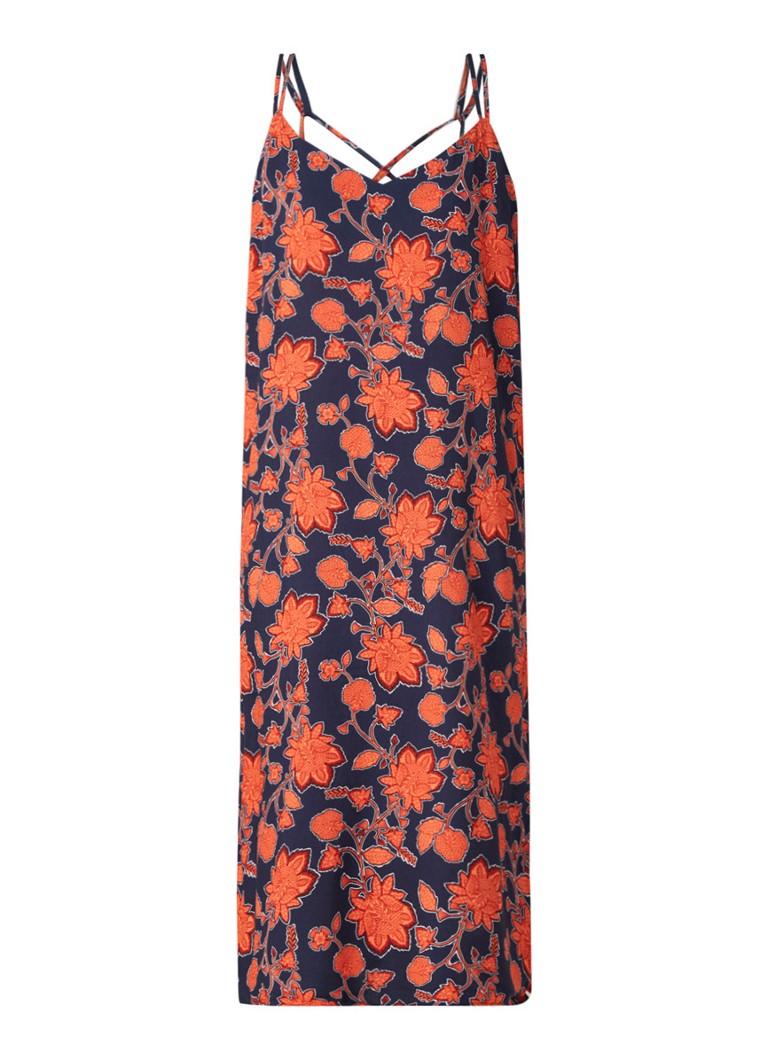Warehouse Midi-jurk met bloemendessin en split donkerblauw