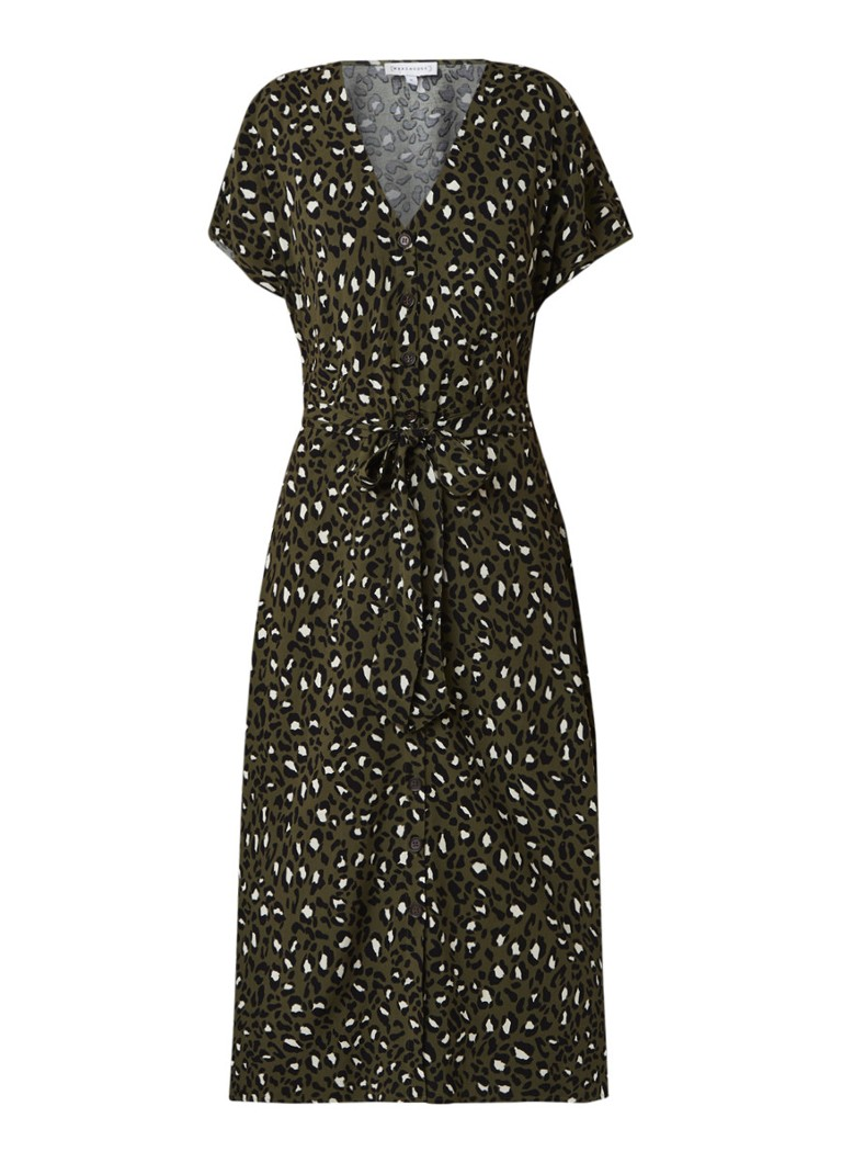 Warehouse Midi jurk met luipaarddessin legergroen