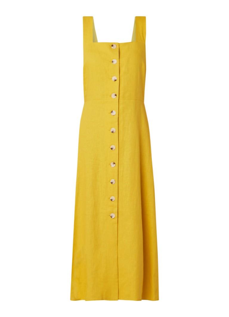 Warehouse Midi-jurk in linnenblend met knoopsluiting okergeel