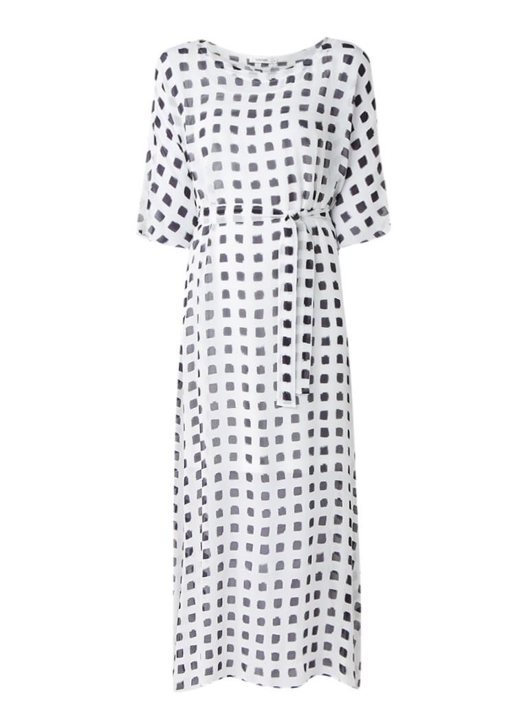 Turnover Maxi-jurk met tailleceintuur en blokdessin wit