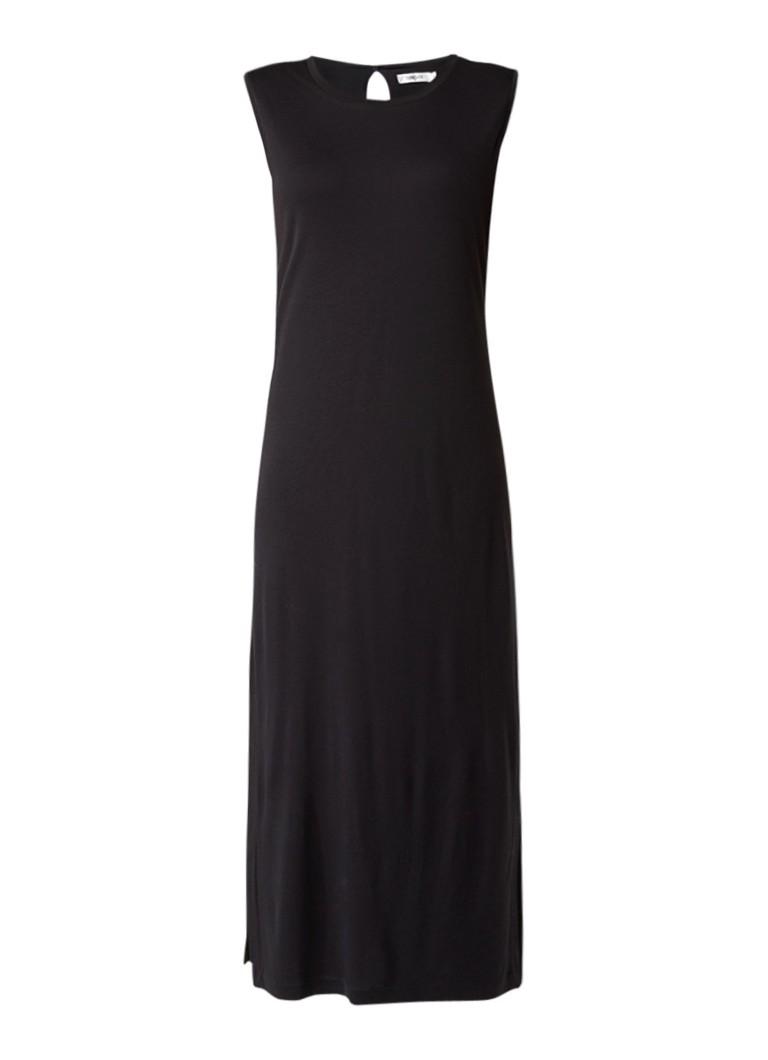 Turnover Mouwloze jersey midi-jurk zwart