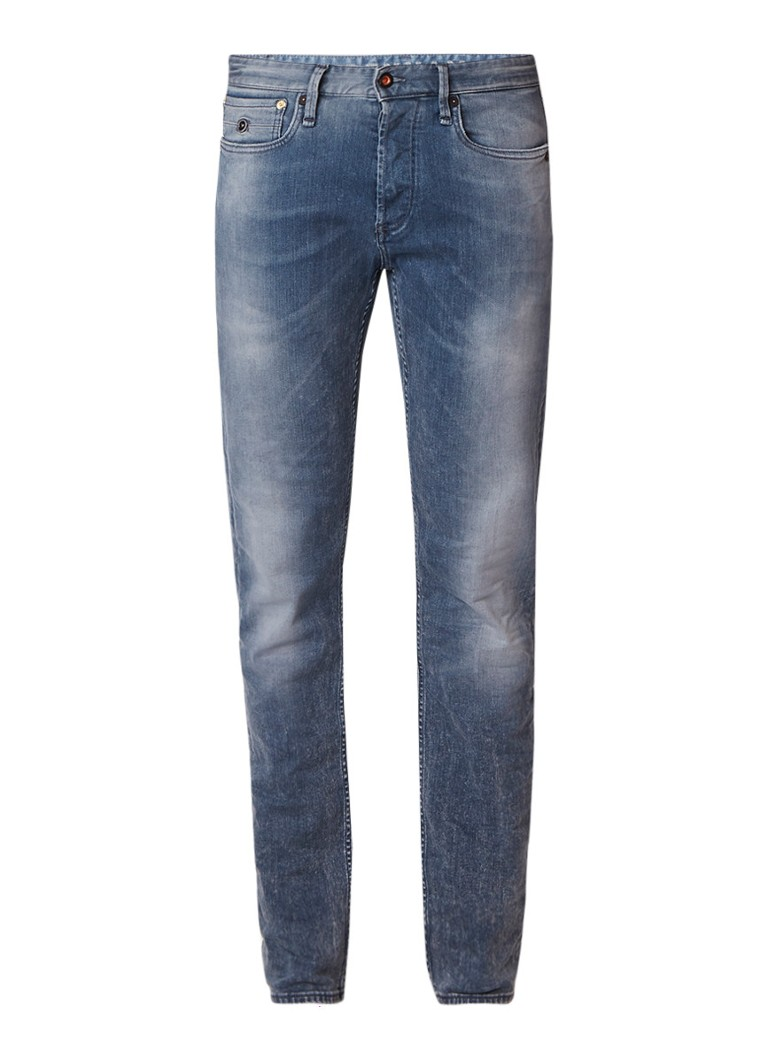 Denham Mid rise slim fit jeans met faded look