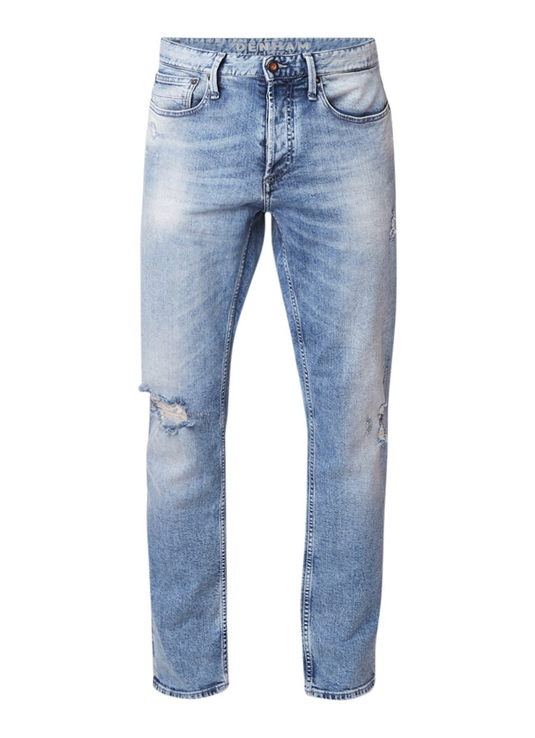 Denham Razor slim fit jeans met stone wash en destroyed details