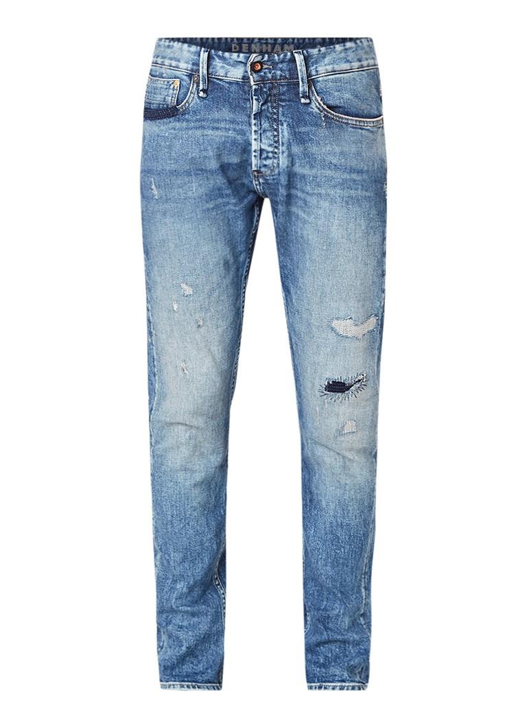 Denham Razor mid rise slim fit jeans met destroyed afwerking