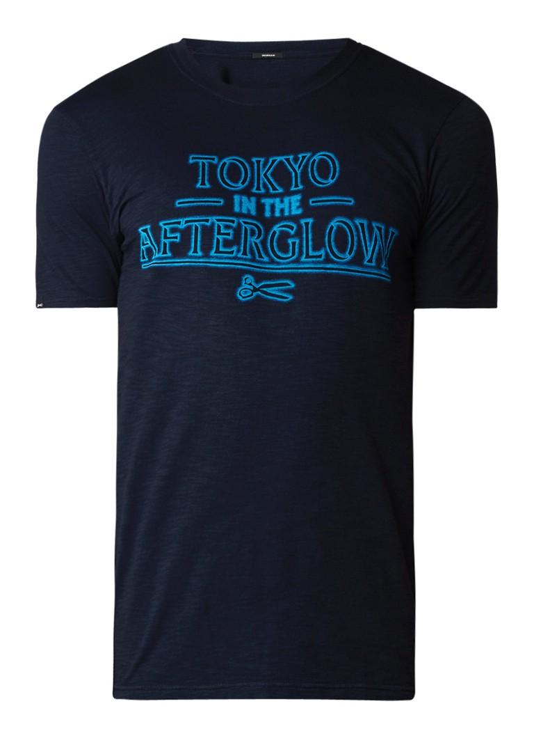 Denham Tokyo Glow T-shirt met tekstopdruk