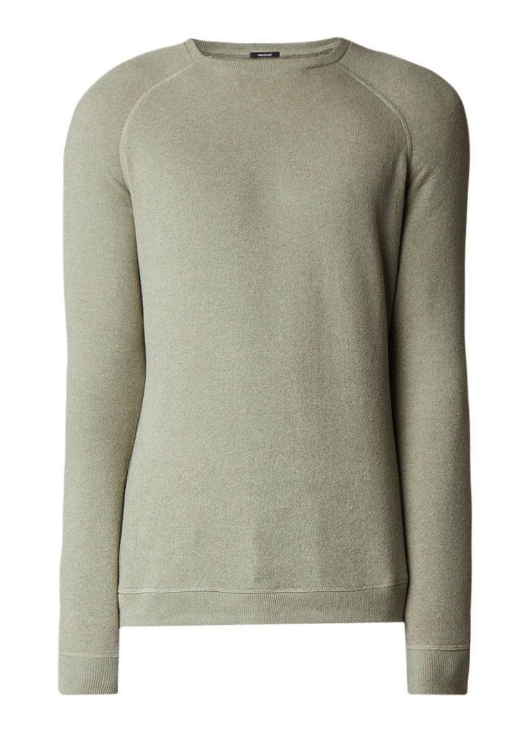 Denham JV raglan crew fijngebreide sweater met brushed finish