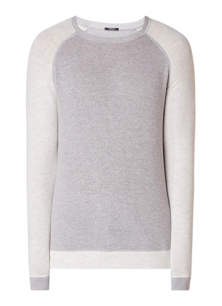 Denham JV raglan crew fijngebreide sweater met contrasterende raglanmouw
