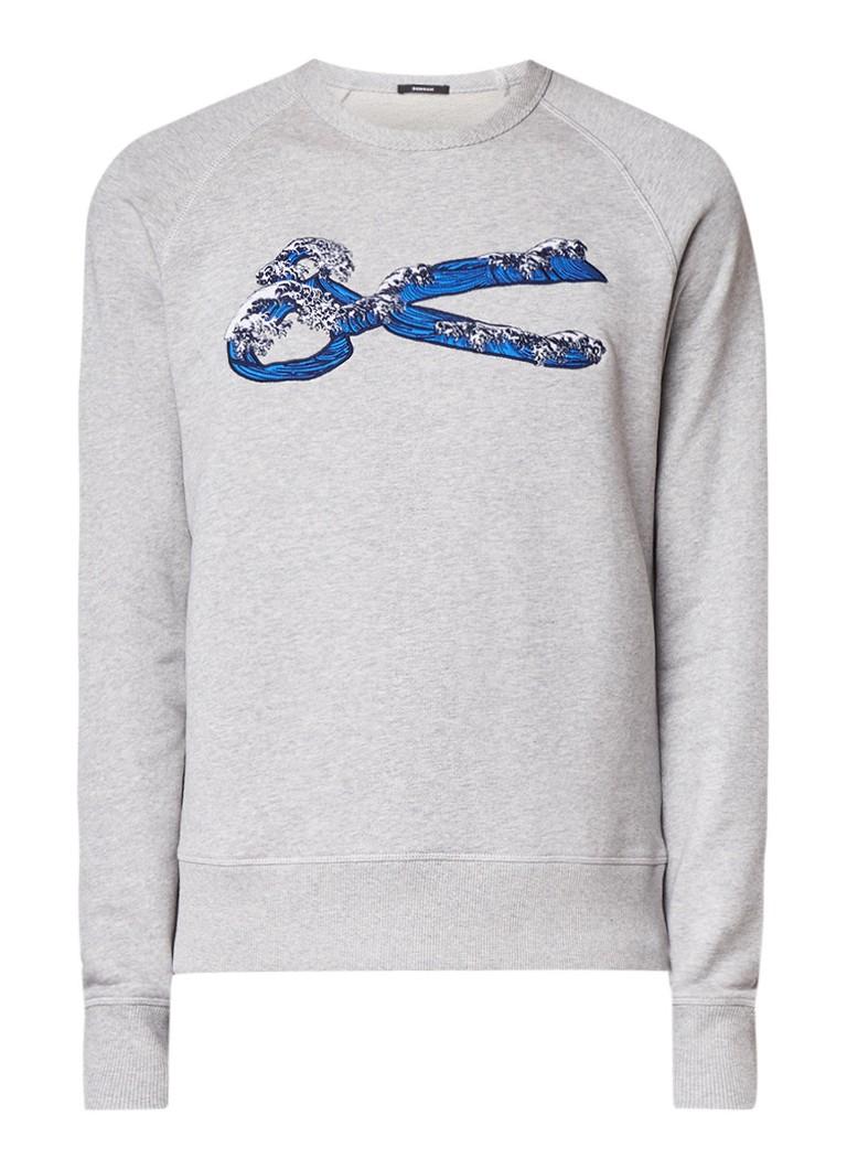 Denham Sweater met raglanmouw en borduring