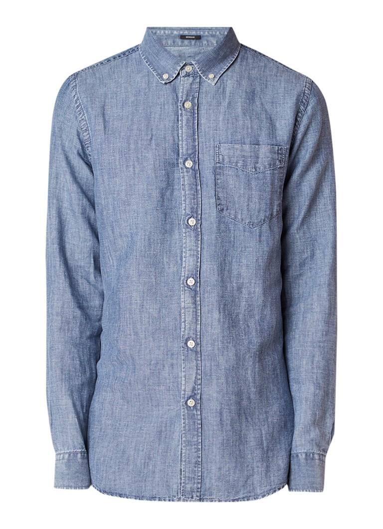 Denham Regular fit chambray overhemd in linnenblend