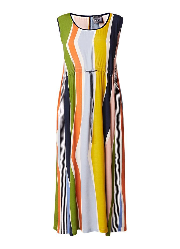 Marina Rinaldi Duo maxi-jurk met taillekoord en streepdessin multicolor