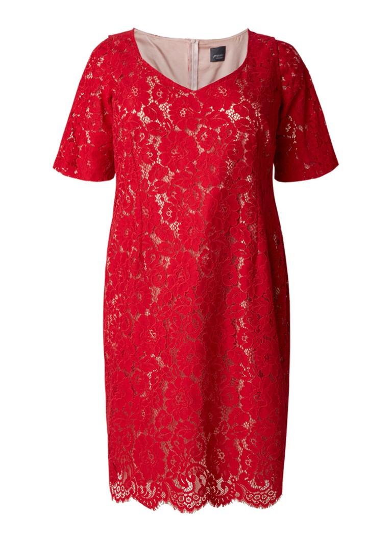 Marina Rinaldi Dire jurk van kant met optionele mouw rood