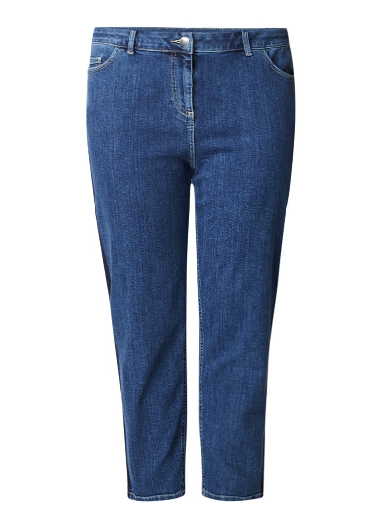 Marina Rinaldi Mid rise cropped straight fit jeans met donkere wassing