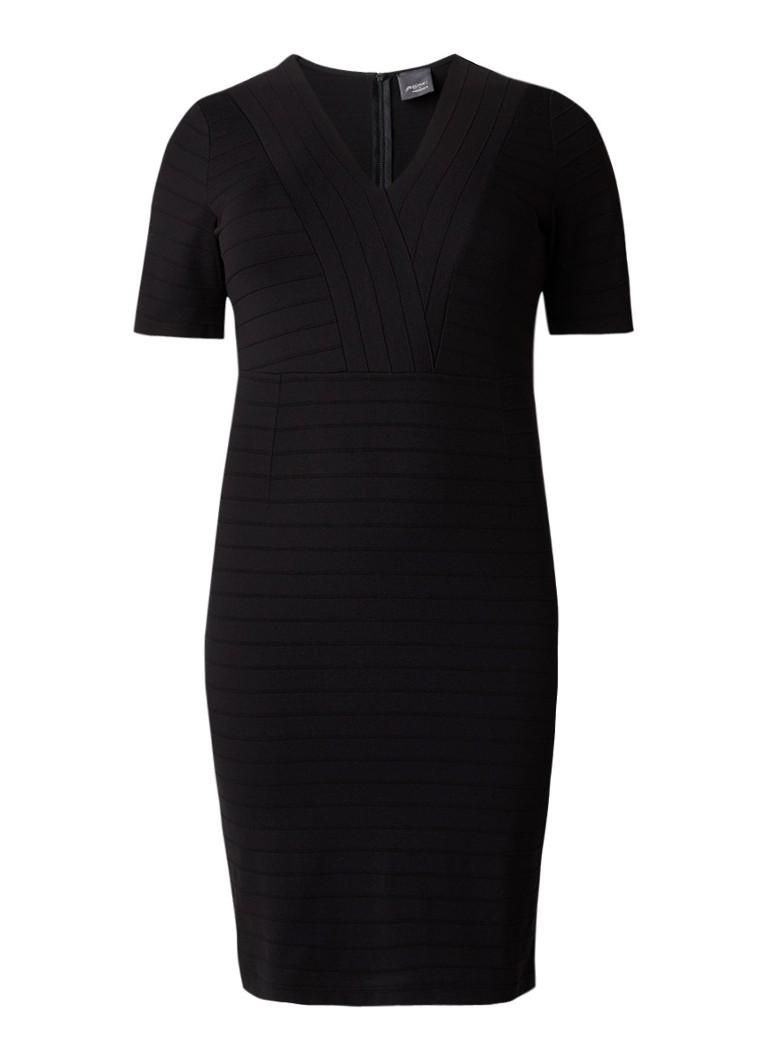Marina Rinaldi Outline kokerjurk van jersey met structuur zwart