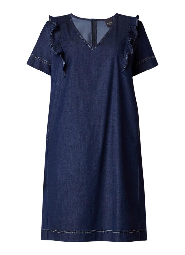 Marina Rinaldi Decisivo jurk van chambray met ruches en V-hals indigo
